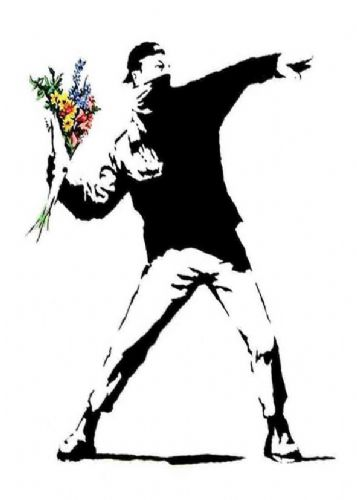 BANKSY - FLOWER THROWER - White canvas print - self adhesive poster - photo print